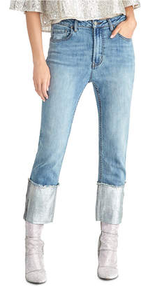Rachel Roy Straight-Leg Metallic High Rise Cuffed Jeans