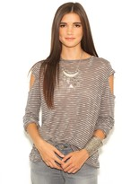 LnA Nocturnal Long Sleeve Top in Coal