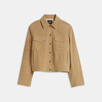 Theory Trucker Jacket in Suede