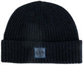 Stone Island logo patch ribbed beanie