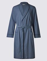 M&s Collection Mini Checked Dressing Gown with Belt