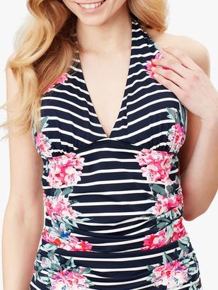 Joules Marissa Stripe Floral Print Halterneck Tankini Top, Navy/Multi