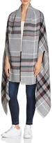 Aqua Reversible Plaid & Herringbone Cape Wrap
