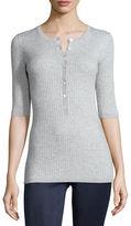Vince Skinny-Rib Half-Sleeve Henley Shirt