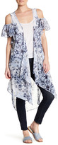 BCBGMAXAZRIA Cold Shoulder Ruffle Print Kimono