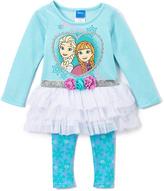 Children's Apparel Network Blue & White Frozen Sisters Top & Leggings - Toddler