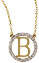 Kacey K Small Round Initial Pendant Necklace with Diamonds