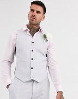 Asos Design DESIGN wedding slim suit suit vest in windowpane check in ice gray