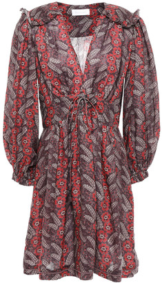 Zimmermann Ruffle-trimmed Floral-print Linen Mini Dress
