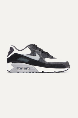 Nike Air Max 90 Qs Snake-effect Leather And Suede Sneakers - Dark gray