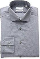 Calvin Klein Men's Non Iron Slim Fit Mini Check Spread Collar Dress Shirt
