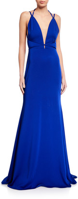 Love, Theia Low V-Neck Open-Back Fitted Crepe Gown