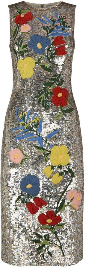 Alice + Olivia Nat Sequin Embellished Midi Dress