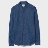 Paul Smith Men's Tailored-Fit Indigo-Dyed Mid-Wash Cotton-Denim Shirt