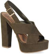 Bamboo Olive Cross-Strap Platform Sandal