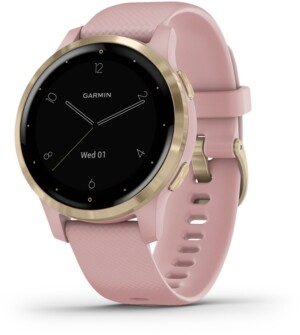 Garmin Unisex vivoactive 4S Dust Rose Silicone Strap Touchscreen Smart Watch 40mm