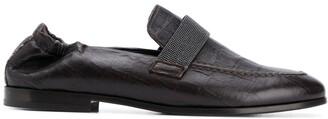 Brunello Cucinelli Crocodile-Effect Loafers