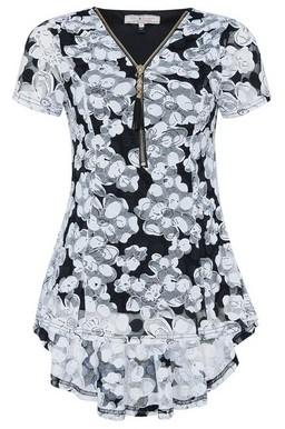 Dorothy Perkins Womens Billie & Blossom Multi Colour Zip Detail Floral Print Top