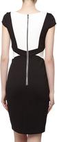 Jax Contrast Geometric Paneled Cocktail Dress, Black/White