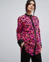 Warehouse Poppy Print Silk Blouse
