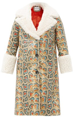 Stand Studio Linda Faux Shearling-trimmed Faux-leather Coat - Multi