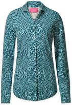 Charles Tyrwhitt Teal and White Spot Print Semi Fitted Stretch Jersey Synthetic Casual Shirt Size 2