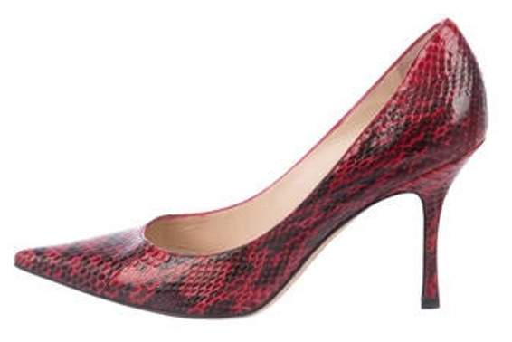 db3ceb03eb0 Snakeskin Pointed-Toe Pumps Red Snakeskin Pointed-Toe Pumps