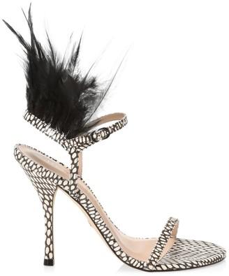 Stuart Weitzman Ricki Feathered Sandals