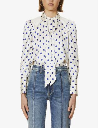Me And Em Polka dot-patterned silk-satin blouse