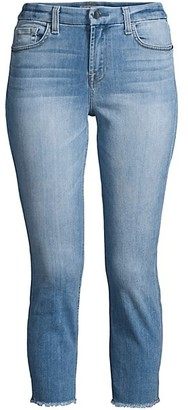 JEN7 by 7 For All Mankind Cropped Skinny Frayed-Ankle Jeans