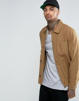 Asos Military Style Jacket In Tobacco