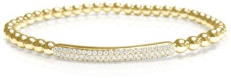 Diamond Bar Bracelet Stretch Bead Bangle 18K Yellow Gold 1/2 CT TDW by Joelle Collection