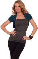 Hot From Hollywood Womens Casual Fitted Knit Open Collar Short Ruching Sleeve Cropped Bolero Shrug