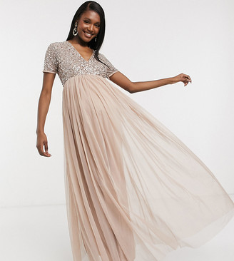 Maya Maternity Bridesmaid v neck maxi tulle dress with tonal delicate sequins in taupe blush-Brown
