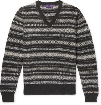Ralph Lauren Purple Label Fair Isle Cashmere Sweater - Men - Gray