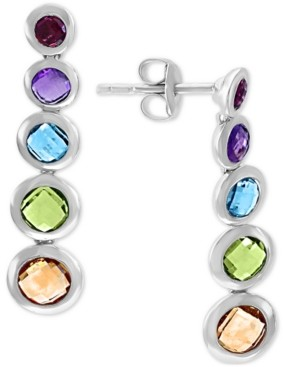 Effy Multi-Gemstone Graduated Drop Earrings (3-3/8 ct. t.w.) in Sterling Silver