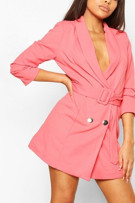 boohoo Petite Belted Ruched Blazer Dress