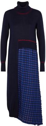 Crea Concept Navy Asymmetric Wool-blend Jumper Dress