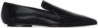 Rosetta Getty Snake-Effect Leather Loafers
