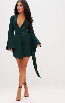 PrettyLittleThing Emerald Green Oversized Ring Detail Blazer Dress
