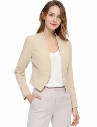 Allegra K Women's Collarless Office Open Front Cropped Blazer Green 8