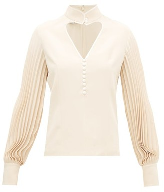 Gucci Pleated-sleeve Silk Blouse - Womens - Ivory