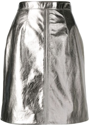 ALEXACHUNG Metallic Mini Skirt