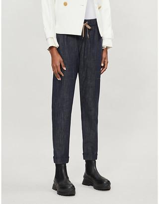 Brunello Cucinelli High-rise straight drawstring waist denim trousers
