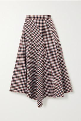 J.W.Anderson Asymmetric Checked Wool Midi Skirt