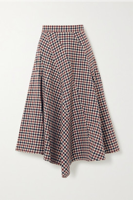 J.W.Anderson Asymmetric Checked Wool Midi Skirt - Red