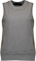 Norma Kamali Stud-embellished stretch-cotton top