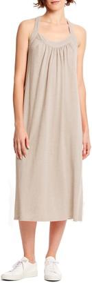 Michael Stars Margo Cross Back Linen Blend Midi Dress