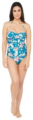 La Blanca Flyaway Orchid Twist Front Bandeau Tankini Swimsuit Top (Caribbean Current) Women's Swimwear