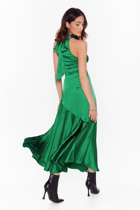 Nasty Gal Time to Halter the Ending Satin Maxi Dress